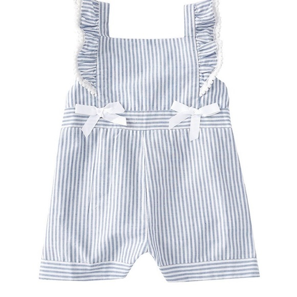 Rare Editions Other - Rare Editions: Ruffle/Bow Striped Romper